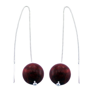 Red coral 12 mm sphere silver earrings