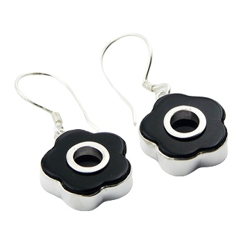 Cute flower agate silver earring