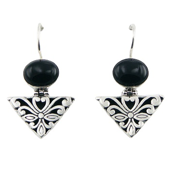 Black agate silver mixed earrings