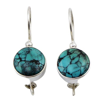Round turquoise silver drop earrings