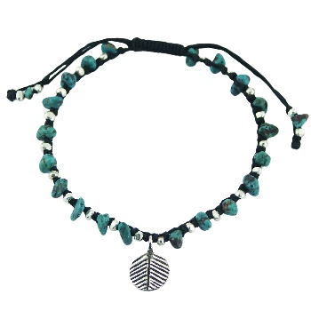 Macrame bracelet turquoise and silver leaf charm