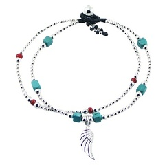 Double Macrame Bracelet Silver, Glass and Turquoise Beads