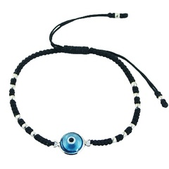 Macrame Bracelet with Glass Evil Eye and SIlver Beads
