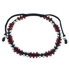925 Silver & Red Glass Round Beads Lush Macrame Bracelet
