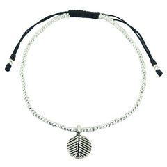 Antiqued Silver Leaf Charm Small Beads Macrame Bracelet