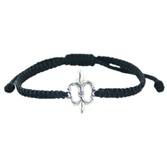 Macrame Waxed Cotton Bracelet with Silver Lily of France