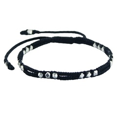Double Strings Macrame Bracelet With Silver Faceted Beads