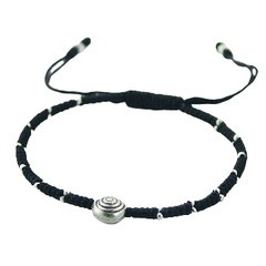 Macrame Bracelet with Antiqued Tibetan Silver Spiral Bead