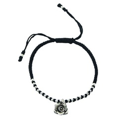 Macrame Wax Cotton Bracelet With Silver Flower Charm & Beads