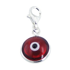 Double Sided Wine Red Glass 925 Silver Evil Eye Charm