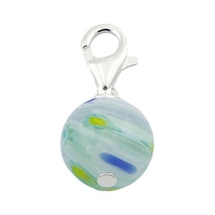Colors In Transparent Murano Glass Bead Silver Charm