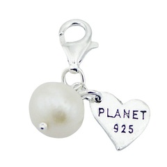 Freshwater Pearl With Sterling Silver Engraved Heart Charm