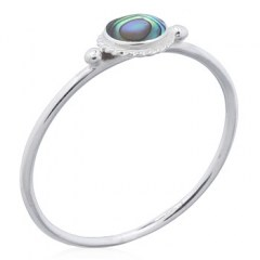 Abalone Shell Round Silver Bordered Round Rings