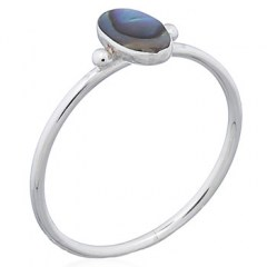 Abalone Shell Long Oval Shaped Sterling 925 Rings