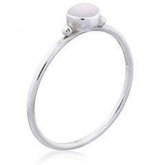 Round Mother of Pearl 925 Silver Ring