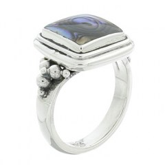 Square Abalone Paua Shell Sterling Silver Ring