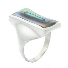 Rectangular Tapered Sterling Silver Abalone Ring