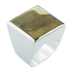 Shell 925 Sterling Silver Jewelry Square Bold Natural Shell Ring