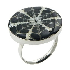 Kaleidoscope Pattern Spider Shell Ring Deep Set In Silver
