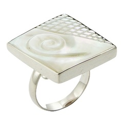Sterling Silver Mother Of Pearl Ring Hand Carved