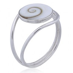Delicate Shiva Eye Shell Ring 925 Sterling Silver Looping Band