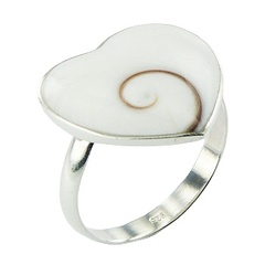 Adorable Shiva Eye Shell Heart 925 Sterling Silver Ring