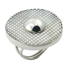 In Fashion Mother Of Pearl Squares Fill 925 Silver Ring