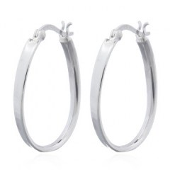 Wire Square In 925 Silver Oval Hoop Earrings