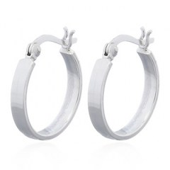 Plain Wire Flat Circle Sterling Silver Hoop Earrings