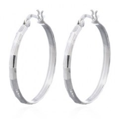 Sparkling Faceted Surface On Circle Silver Hoop Earrings