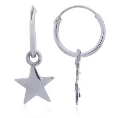 Sterling Silver Polished Star Mini Hoop Earrings