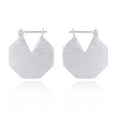 Octagon Silver Plated Hoop Earrings