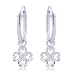 Four Clover Leaf 925 Mini Hoop Earrings