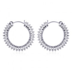Boho 925 Silver Hoops Tiny Circles and Balls