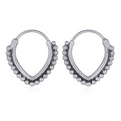 V Shape Dotted Silver Hoop Earrings