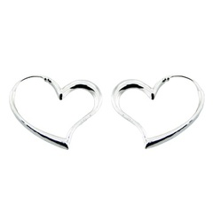Lovely Floating Sterling Silver Heart Hoop Earrings