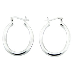 Oval Sterling Silver Hoop Earrings Sophisticated Jewelry