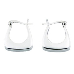 Sterling Silver Hoop Earrings Chic Trapezium Edge Finish