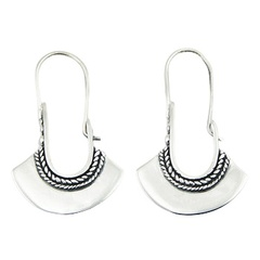 Beautiful Planet Silver Hoop Earring Design Fan Shaped