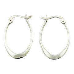 Flattened Bottom 25mm Oval Hoop 925 Silver Earrings