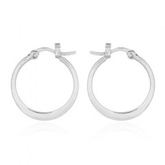 Flattened At Bottom 22mm Hoop 925 Silver Earrings