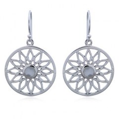 Round Silver Flower Earrings with Mother of Pearl