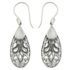Antiqued 925 Silver Mother of Pearl Dangle Earrings Feather Decor
