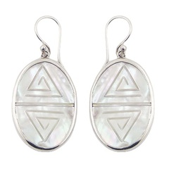 Engraved Mother Of Pearl Striking Oval 925 Silver Danglers