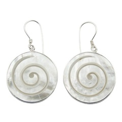 Creamy Hand Carved Spiral Mother Of Pearl Earring