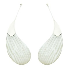 Paisley Shaped Drop Earrings Mother Of Pearl Sterling Silver