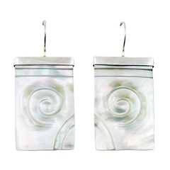 Carved Twirl Relief Mother Of Pearl 925 Silver Earring