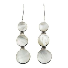 Hinged Framed Round Cut Mother Of Pearl Silver Drops