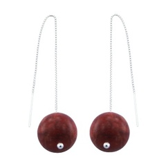 Sterling Silver High Fashion Coral Threader Earrings 16mm Sphere
