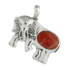 Magnificent Red Coral Elephant 925 Silver Pendant